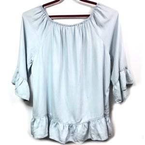 AVENUE OFF THE SHOULDER CAMBRAY RUFFLE TOP